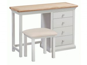 Homestyle Cotswold Grey With Oak Top Dressing Table and Stool | Fully Assembled