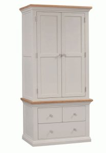 Homestyle Cotswold Painted Grey With Oak Top 2 Door & 3 Drawer Gents Wardrobe