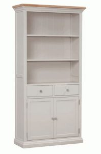 Homestyle Cotswold Grey With Oak Top Large Bookcase With Cupboards | Fully Assembled