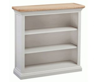 Homestyle Cotswold Grey With Oak Top Small Bookcase With Two Shelves | Fully Assembled