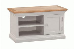 Homestyle Cotswold Grey With Oak Top 1 Door TV Cabinet | Fully Assembled