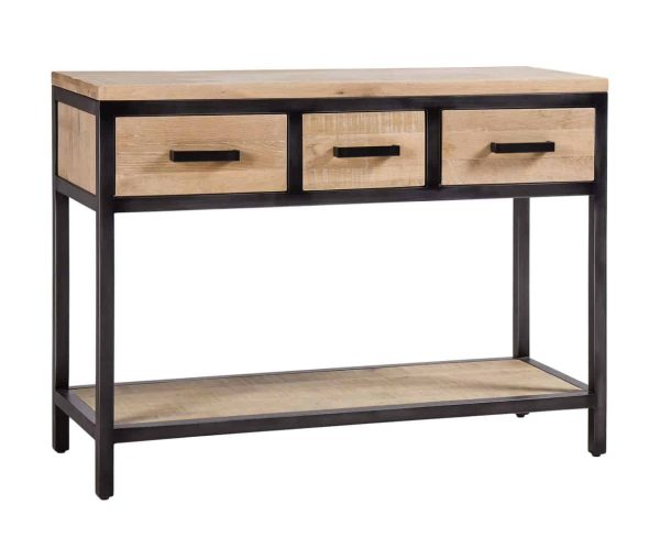 Besp-Oak Forge Iron and White Wash Oak Hall Table with 3 Drawers and Oak Shelf
