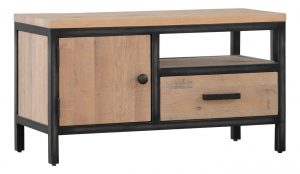 Besp-Oak Forge Iron and White Wash Oak TV Unit 1 Door 1 Drawer | Fully Assembled