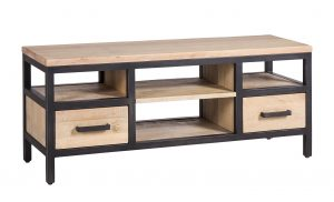 Besp-Oak Forge Iron and White Wash Oak Small TV Unit With Drawers | Fully Assembled