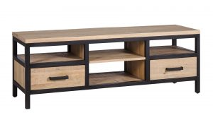 Besp-Oak Forge Iron and White Wash Oak Large TV Unit With Drawers | Fully Assembled