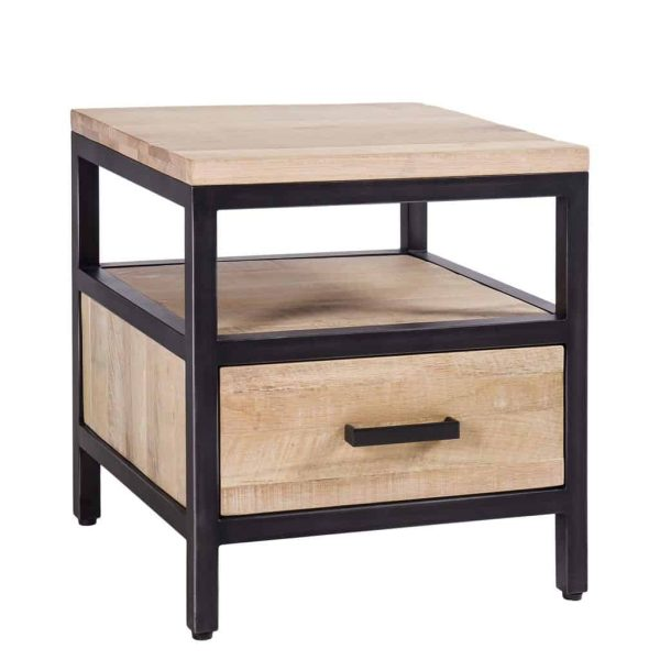 Besp-Oak Forge Iron and White Wash Oak 1 Drawer Side Table   Fully Assembled