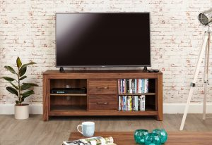 Baumhaus Mayan Walnut Low Widescreen TV Cabinet
