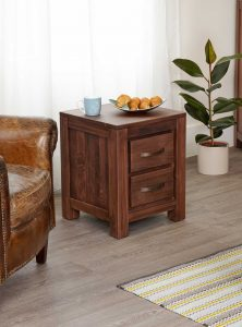 Baumhaus Mayan Walnut 2 Drawer Lamp Table | Fully Assembled