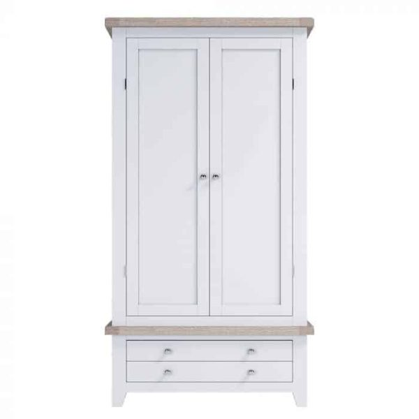 Hampshire Light Grey With Chalked Oak Tops Double Wardrobe with 2 Drawers