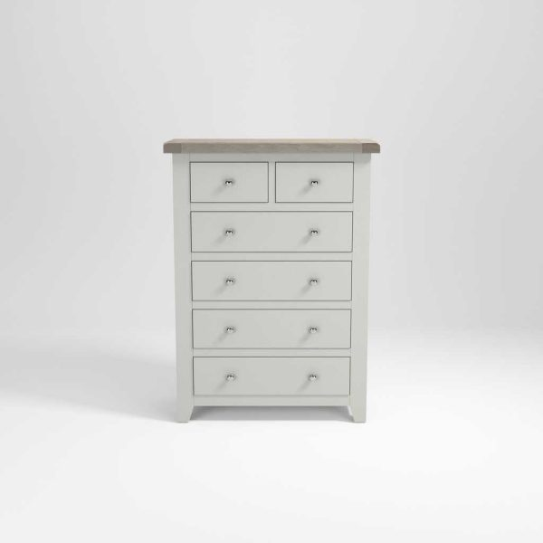 Hampshire Light Grey With Chalked Oak Tops 2 Over 4 Chest of Drawers | Fully Assembled