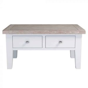 Hampshire Light Grey With Chalked Oak Tops Coffee Table with 2 Drawers | Fully Assembled