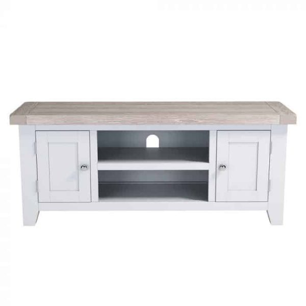 Hampshire Light Grey With Chalked Oak Tops Large 2 Door TV Unit | Fully Assembled