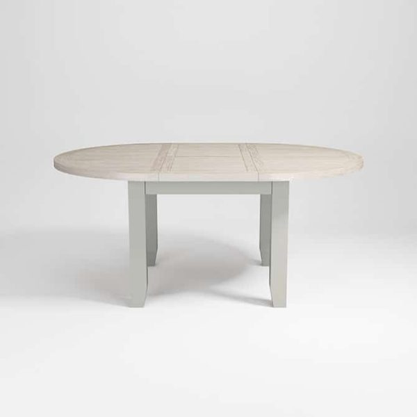 Hampshire Light Grey With Chalked Oak Tops Round Extending Dining Table (110cm – 150cm)