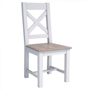 Hampshire Light Grey With Chalked Oak Tops Cross Back Dining Chair with Oak seat (Pack of 2)