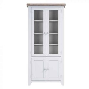 Hampshire Light Grey With Chalked Oak Tops Small Display Cabinet | Fully Assembled