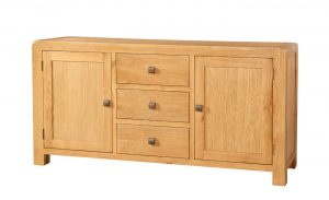 Avon Waxed Oak Large Sideboard with 2 Doors and 3 Drawers | Fully Assembled