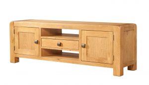 Avon Waxed Oak 2 Door Wide TV Unit | Fully Assembled