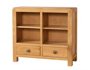 Avon Waxed Oak Low 2 Drawer Bookcase | Fully Assembled