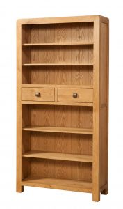 Avon Waxed Oak Tall 2 Drawer Bookcase | Fully Assembled