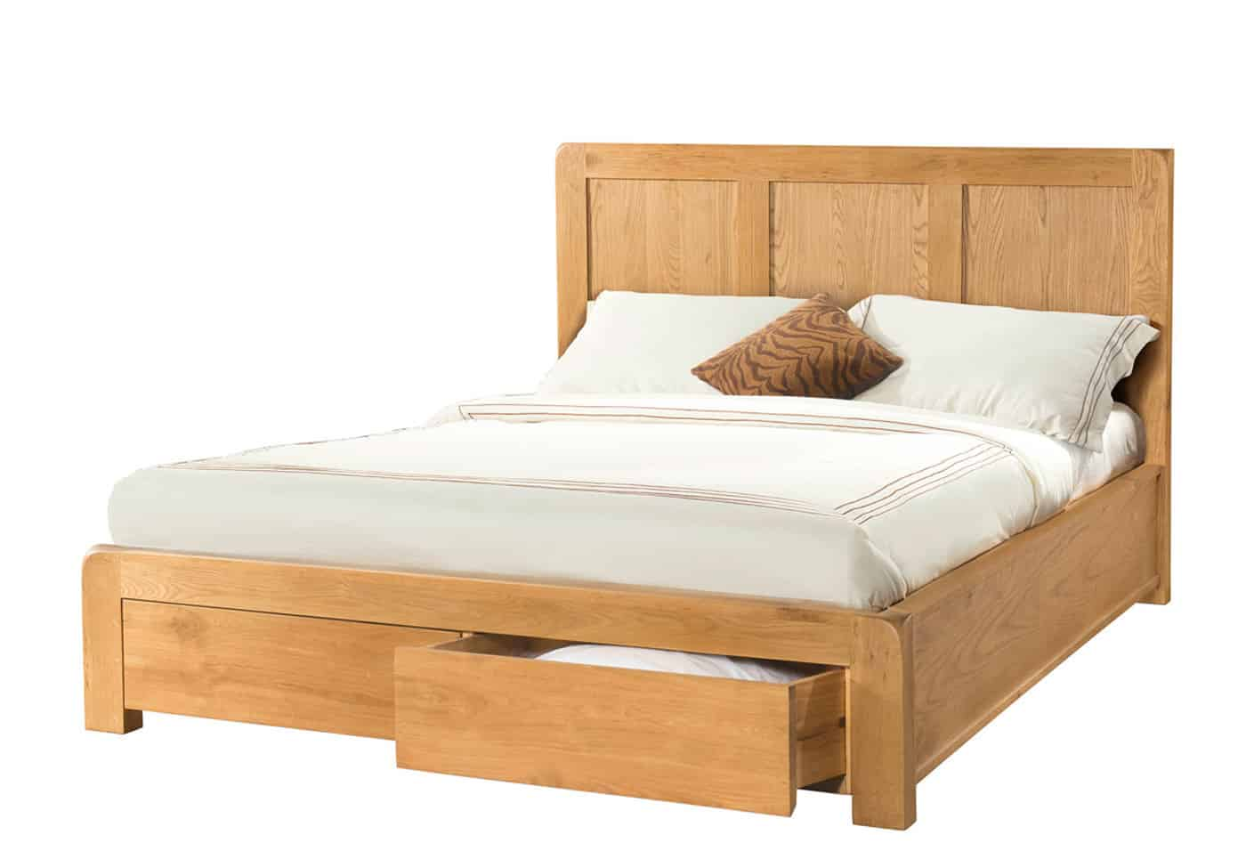 Avon Waxed Oak 5′ King Size Bed with Storage Drawers