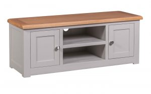 Homestyle Diamond Painted Grey 2 Door TV Cabinet | Fully Assembled