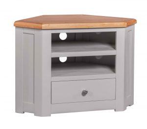 Homestyle Diamond Painted Grey 1 Drawer Corner TV Cabinet | Fully Assembled
