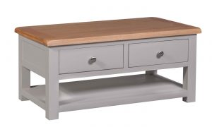 Homestyle Diamond Painted Grey Coffee Table with 2 Drawers | Fully Assembled