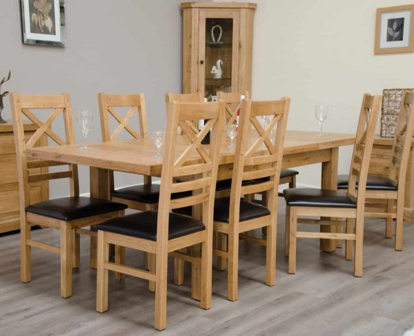 Homestyle Deluxe Solid Oak 1.5m Twin Leaf Extending Dining Table