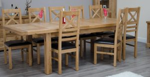 Homestyle Deluxe Solid Oak 1.8m Twin Leaf Extending Dining Table