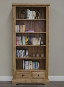 Homestyle Deluxe Solid Oak 4 Shelves & 2 Drawer Large Bookcase | Fully Assembled
