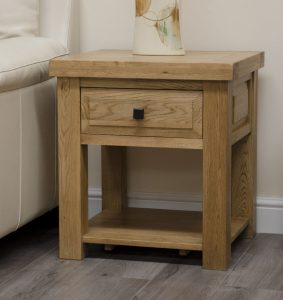 Homestyle Deluxe Solid Oak 1 Drawer Lamp Table | Fully Assembled