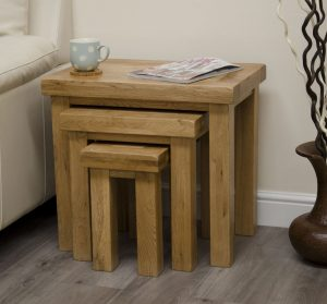 Homestyle Deluxe Solid Oak Nest of Tables | Fully Assembled