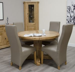 Homestyle Deluxe Solid Oak 1.25m Round Extending Dining Table