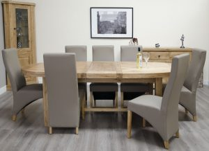 Homestyle Deluxe Solid Oak 2.1m Super Oval Extending Dining Table