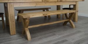 Homestyle Deluxe Solid Oak X-Leg Dining Bench