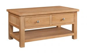 Devonshire Dorset Oak 2 Drawer Coffee Table With Shelf | Fully Assembled