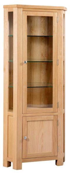 Devonshire Dorset Oak Glazed Corner Display Cabinet | Fully Assembled