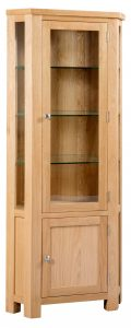 Devonshire Dorset Oak Glazed Corner Display Cabinet | Fully Assembled