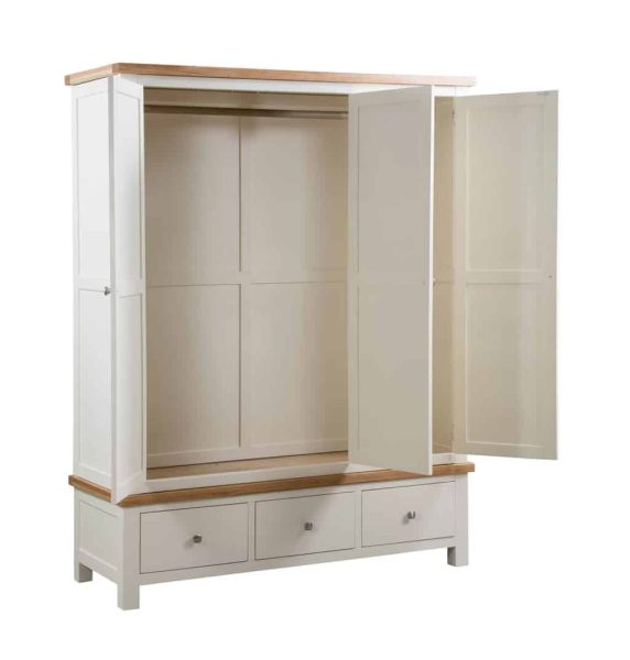 Devonshire Dorset Painted Ivory 3 Drawer Triple Wardrobe With Drawers