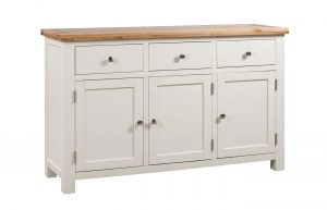 Devonshire Dorset Painted Ivory 3 Drawer 3 Door Sideboard | Fully Assembled