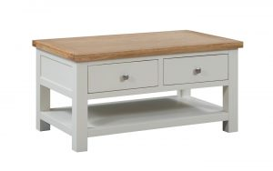 Devonshire Dorset Painted Ivory 2 Drawer Coffee Table | Fully Assembled