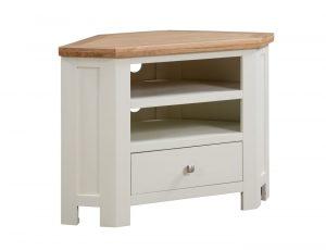 Devonshire Dorset Painted Ivory 1 Drawer Corner TV Unit | Fully Assembled
