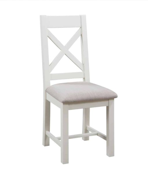 Devonshire Dorset Painted Ivory Cross Back Chair (Pair)   Fully Assembled