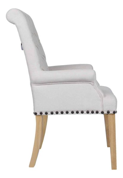 Besp-Oak Beige Dining Chair with Studded Detail and Knocker (Pack of 2)