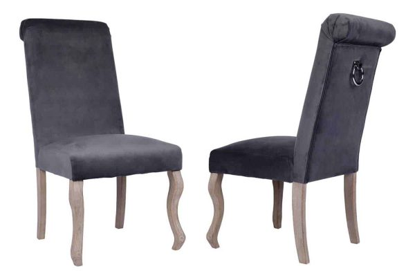 Besp-Oak Dark Grey Dining Chair with Knocker (Pack of 2)