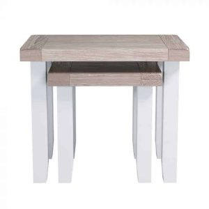 Hampshire Light Grey With Chalked Oak Tops Nest of 2 Tables | Fully Assembled