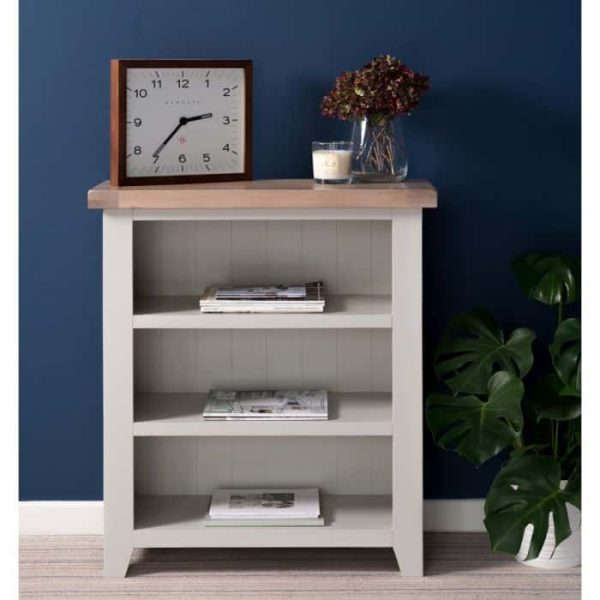 Hampshire Light Grey With Chalked Oak Tops Low Bookcase   Fully Assembled