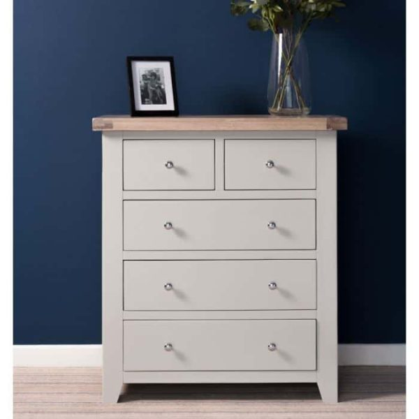 Hampshire Light Grey With Chalked Oak Tops 2 Over 3 Chest of Drawers | Fully Assembled