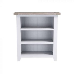 Hampshire Light Grey With Chalked Oak Tops Low Bookcase | Fully Assembled