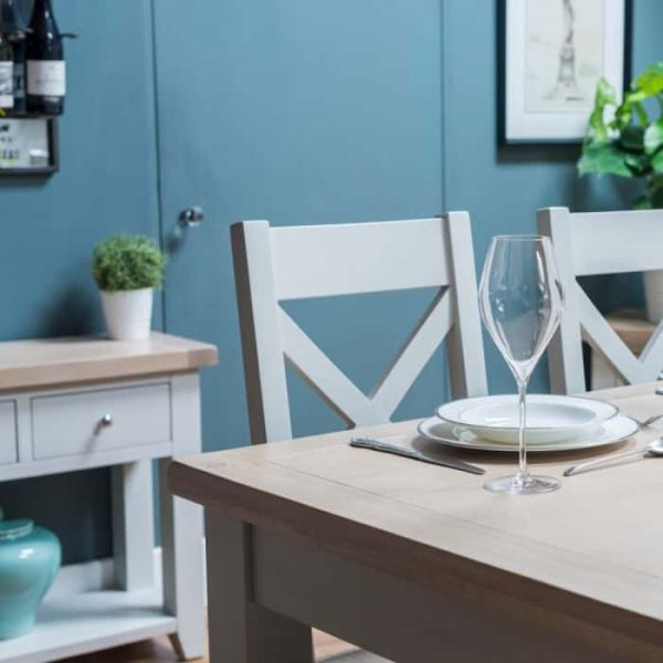Hampshire Light Grey With Chalked Oak Tops Extending Dining Table 120cm – 150cm